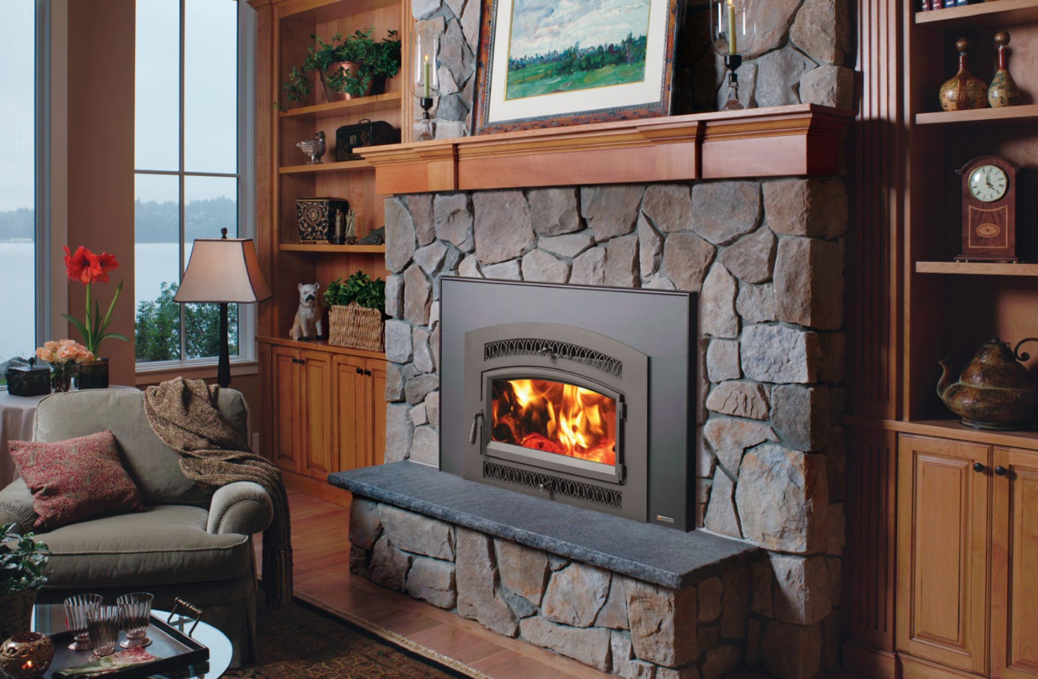 33 Elite Flush Arch Wood Fireplace Insert American